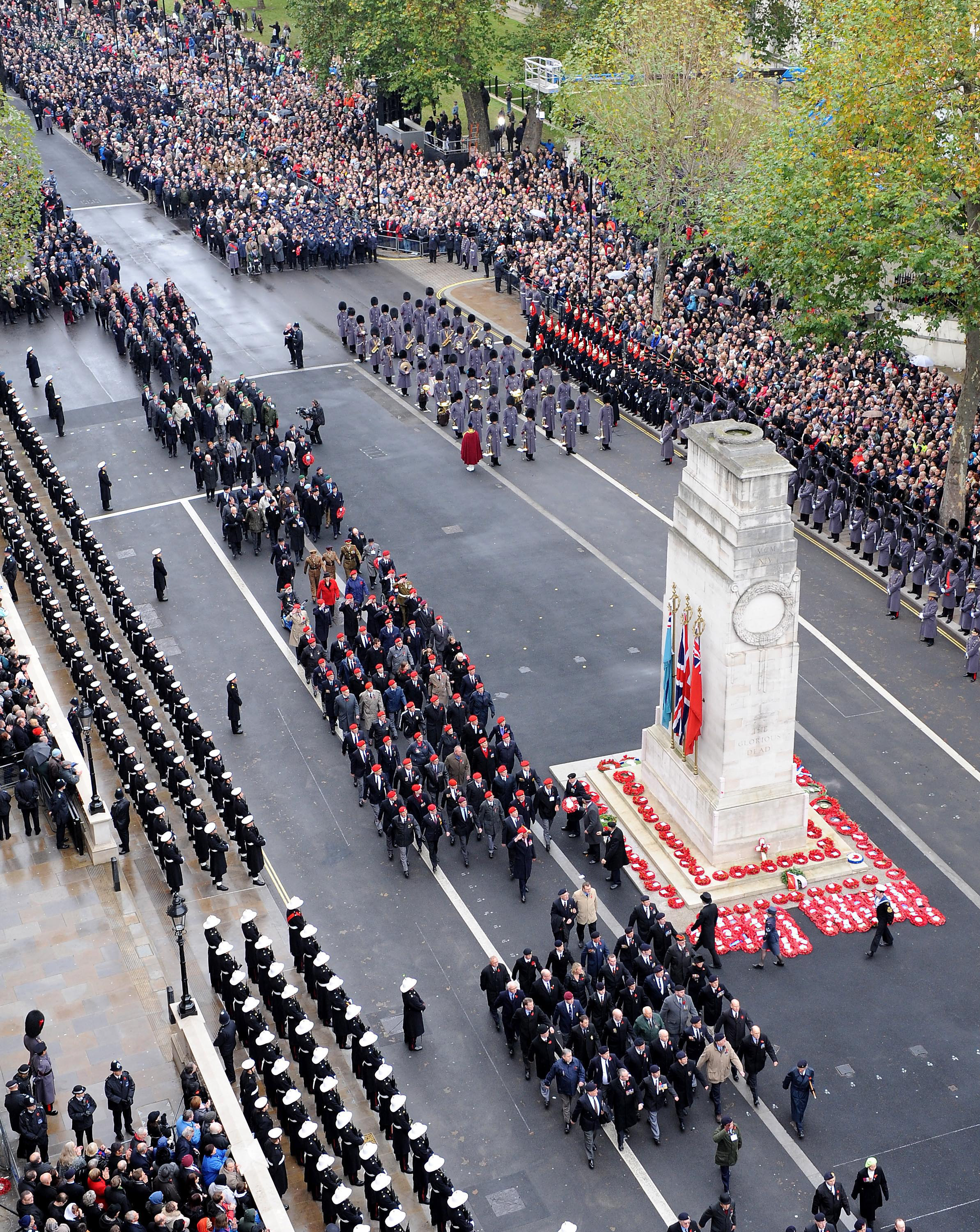 Veterans March Past the Cenotaph London During Remembrance Sunday Service