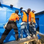 Samaritan's Purse employees work in teams to construct thousands of temporary shelters for survivors of Haiti's earthquake.